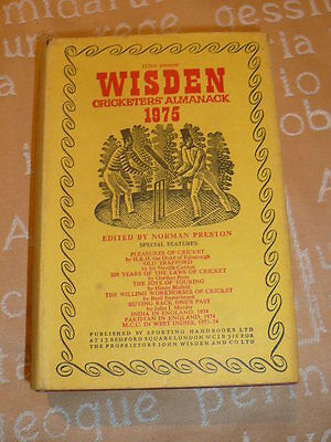 Wisden Cricketers' Almanack 1975 Hardback 112Th Edition