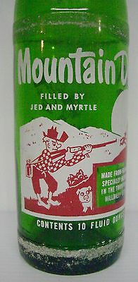 """Vintage 1965 Mountain Dew Filled By """"Jed and Myrtle"""" 10 ounce Soda Bottle"""