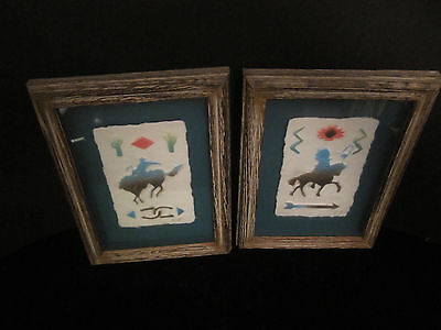 2 Handcast Paper Wall Art 3D Southwest Hand Painted Signed Wood Shadowbox Frames