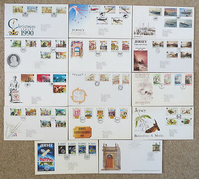 14 Jersey Stamp First Day Covers FDC from 1989 to 1991