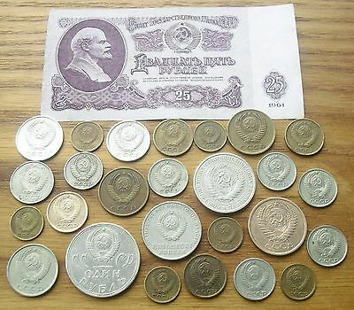 Lot of 26 USSR Coins mix + 1 Banknote, 1961 - 89.