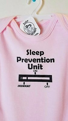 Sleep Prevention Unit Baby Onesie Shower Gift Funny Cute Bodysuit (Pink)