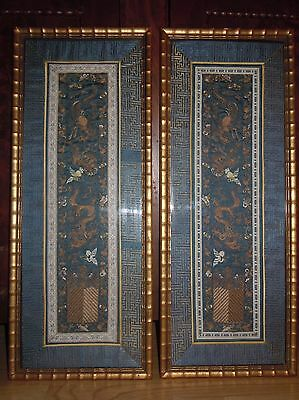 pair of antique framed finely gold embroidered chinese silk sleeve panels