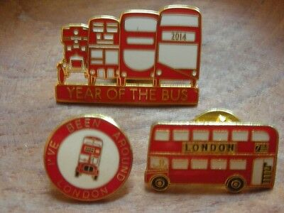 LONDON RED BUSES & YEAR OF THE BUS TRANSPORT x 3 PIN BADGES