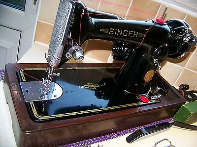 Rare Singer's Finest 201K Knee Operated  Semi Industrial Sewing Machine,case/key
