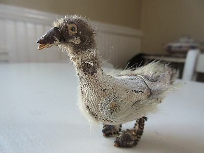 Antique Leather&Fur/Mohair Goose Ugly Duck Miniature Stuffed Christmas Putz Toy