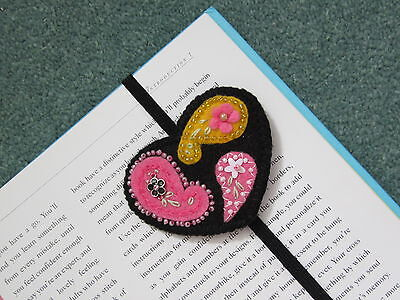 Handcrafted Felt Elasticated Black Beaded Heart Shaped Bookmark.