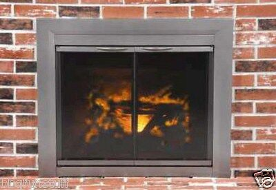Pleasant Hearth Glass Fireplace Door Craton Gun Metal Medium CR-3401 Mesh Screen