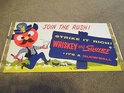 VINTAGE SQUIRT SIGN SODA POP WHISKEY VINTAGE 1960 PAPER GLOWBALL blacklight