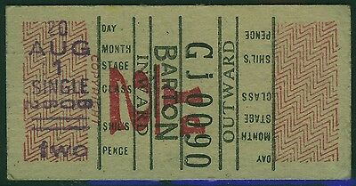 UK 1950s? BARTON 2½d bus ticket  with scuffs