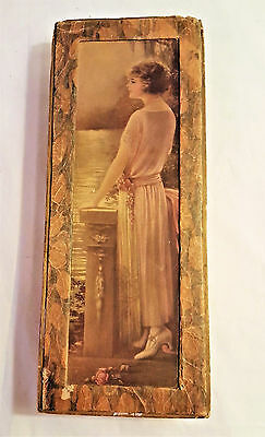 Woman In Thought Art Print Bow Box Candy Box, Early 20Th Century Collectible Box