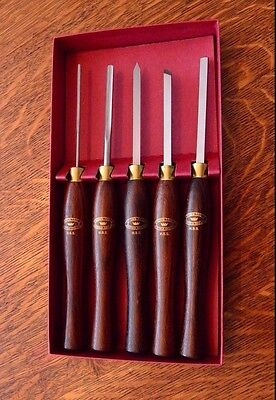 Crown Tools Sheffield,Eng. Miniature HSS Wood  Turning  Set **Genuine Rosewood**