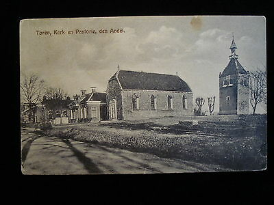 Andel Netherlands Tower Rectory and Church Vintage Postcard