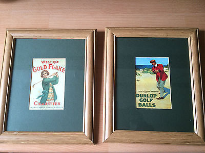 Advertising prints - Wills tobacco and Dunlop golf balls- excellent condition