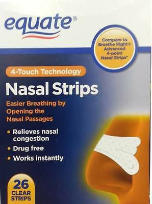 Equate 4 Touch Clear Nasal Strips, 26 Count