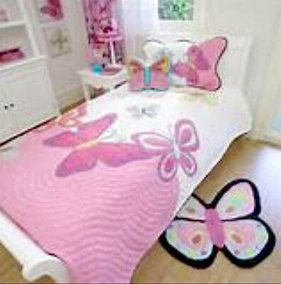 """New""""Freckles"""" Designer Kids Bedding. Double Butterfly Quilted Throw+ Pillowsham"""