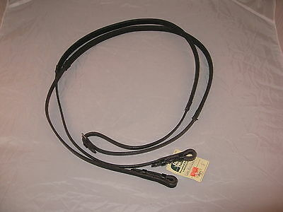 "Kensington 1/2"" Black Leather Reins with Equus Rubber Grip - new with tags"