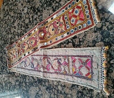 """53"""" x 5"""" VINTAGE MIRROR CLOTH PANEL FROM INDIA - BEAUTIFUL EMBROIDERY"""