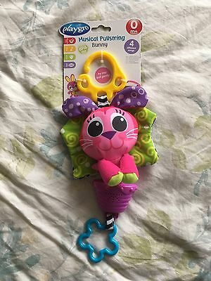 Brand new Playgro Musical hanging pullstring Bunny toy with 4 different songs