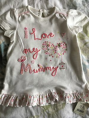 "BNWT Embroidered ""I love my Mummy"" 3-6 months beautiful t'shirt by George (Asda)"