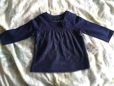 BNWT cute navy blue t'shirt with flower from Nutmeg 3-6 months