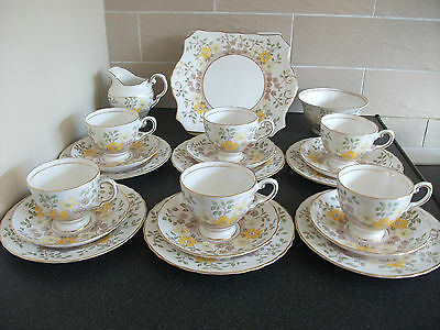 Vintage Tuscan Hand Painted 21 Piece English Bone China Floral Tea Set