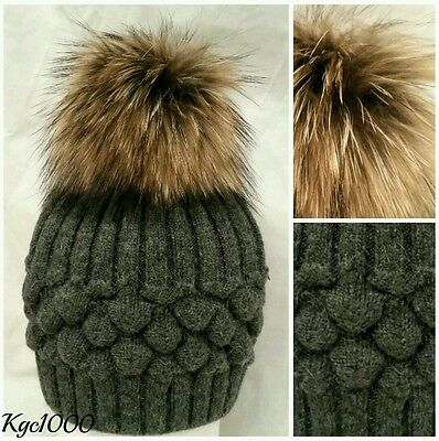 Charcoal Grey Bobble Hat Fur Pom Pom Beanie Ribbed Knitted Hats Cashmere Mix