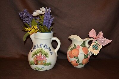 Vintage MidCentury Pottery ceramic pitcher by NS Gustin Co. Claire Burke Peaches