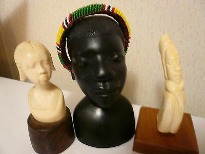 Old African Carved  Busts Lot Of Three