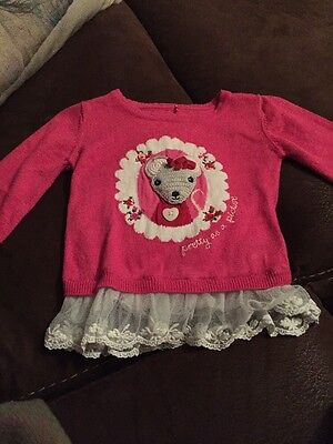Girls 9-12 Months Long Sleeve Pink Jumper With Mouse details
