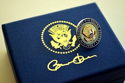 White House Presidential Seal/shield Lapel Pin~Silver & Gold~Signed~Signed Box