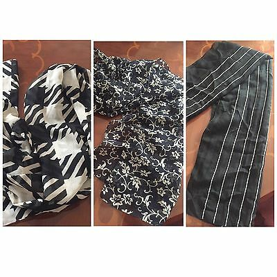 3 X Scarves Stripey Floral Black White And Navy