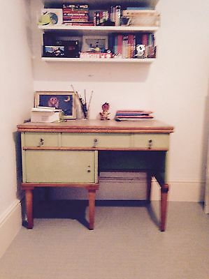 Stylish Green & Wood Desk - Leather Top.