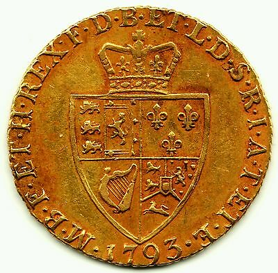 1793 KING GEORGE III 3RD FULL 22CT GOLD GUINEA COIN BRITISH MILLED ANTIQUE 8.4g