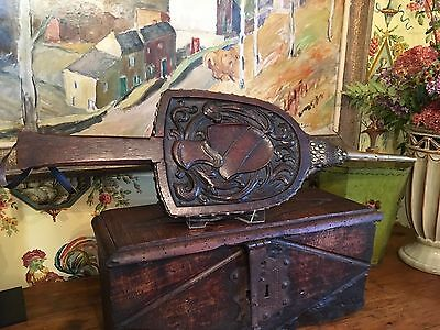 Antique English Wooden Fireplace Bellows 19th Century Carved
