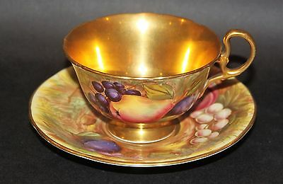 Vintage Aynsley Orchard Full Gold Footed Cabinet Tea Cup & Saucer Stunning