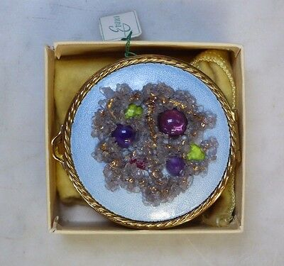 ( Brand New Old Stock !! ) Evans Enameled Compact Makeup Mirror Look Beautiful !