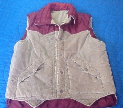 Vintage Ferranti California  Men's Large Reversible Corduroy Vest Tan And Maroon