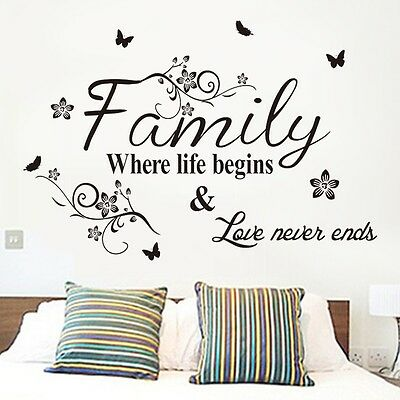 Family Life Begins Love Wall Quote Decal Words Removable Sticker Decor Vinyl PO