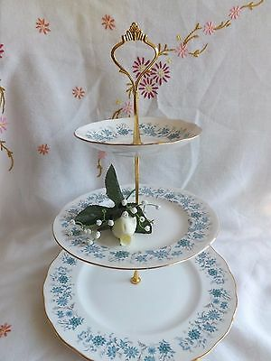 """Beautiful Vintage Colclough """"braganza"""" Blue And White Floral 3 Tier Cake Stand"""