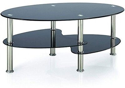 Glass Coffee Table Cara Black Modern Design Furniture with Gloss Chrome Legs