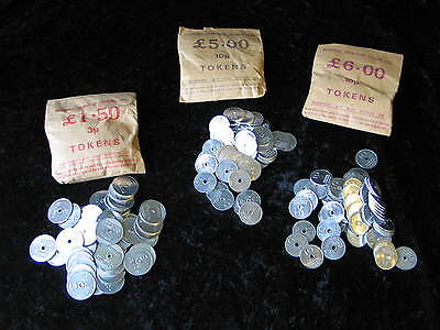 3 X VINTAGE BAGS OF NATIONAL TRANSPORT TOKENS 10p and 3p