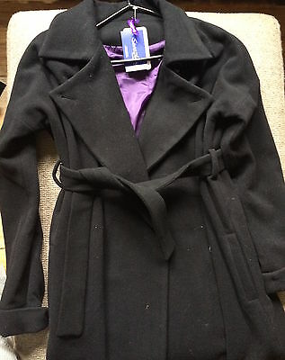 Seraphine Black Wool Wrap Coat Sz 0 XS-S