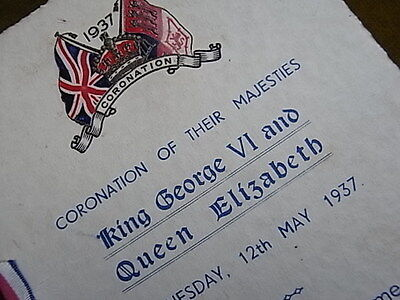 CORONATION OF KING GEORGE V1 & QUEEN ELIZABETH, MAY 12 th 1937.PROGRAMME