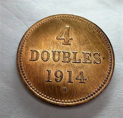 Scarce 1914 H Britain Guernsey 4 Doubles - Excellent Grade