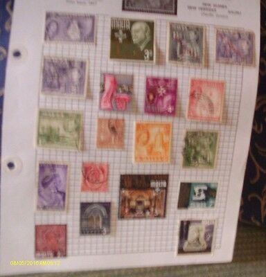 Old  Album Page Of 19 Mixed Vintage Used Stamps  See Photos For Condition