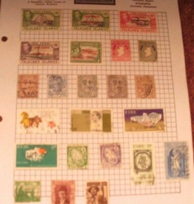 Old  Album Page Of  23 Vintage Mixed Used Stamps    See Photos For Condition