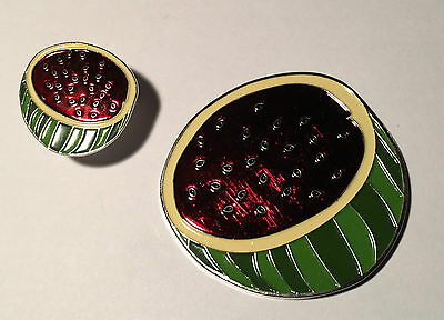 Watermelon Geocoin and Matching Pin - *UNACTIVATED*