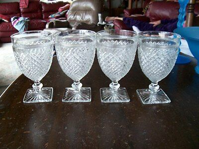 "Miss America 5 1/2"" crystal water goblets (4)"