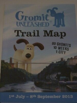 GROMIT UNLEASHED Wallace and Gromit TRAIL MAP 2013 Bristol AARDMAN